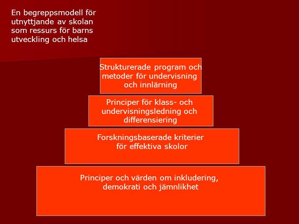 Principer och värden om inkludering, demokrati och jämnlikhet Forskningsbaserade kriterier för effektiva skolor Principer för klass- och undervisnings