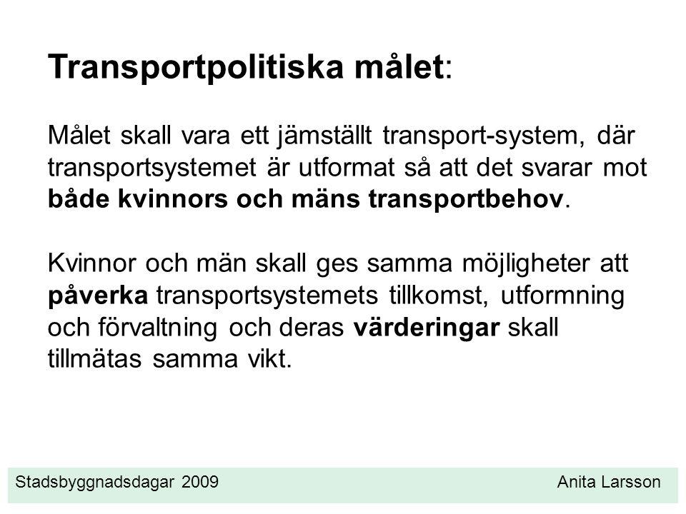 Stadsbyggnadsdagar 2009 Anita Larsson Transportpolitiska målet: Målet skall vara ett jämställt transport-system, där transportsystemet är utformat så att det svarar mot både kvinnors och mäns transportbehov.