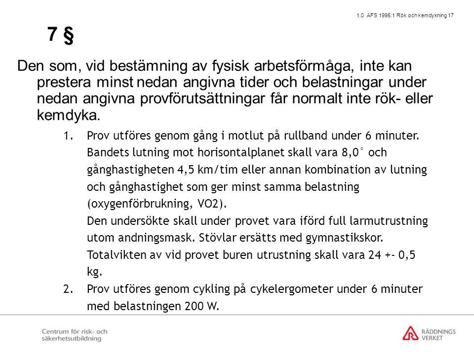 1.0 AFS 1995:1 Rök och kemdykning 17 7 § Den som, vid bestämning av fysisk arbetsförmåga, inte kan prestera minst nedan angivna tider och belastningar under nedan angivna provförutsättningar får normalt inte rök- eller kemdyka.