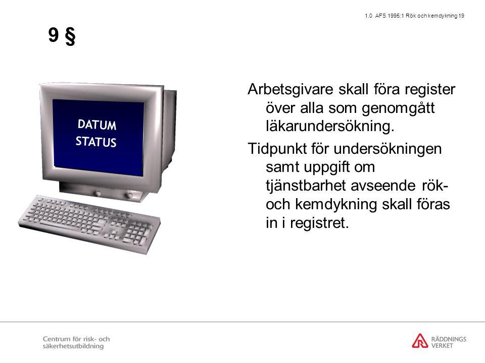 1.0 AFS 1995:1 Rök och kemdykning 19 9 § Arbetsgivare skall föra register över alla som genomgått läkarundersökning. Tidpunkt för undersökningen samt