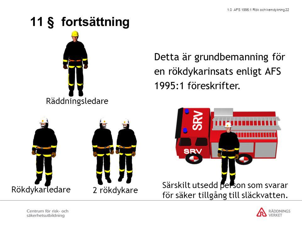 1.0 AFS 1995:1 Rök och kemdykning 22 2 rökdykare Rökdykarledare Detta är grundbemanning för en rökdykarinsats enligt AFS 1995:1 föreskrifter. Räddning