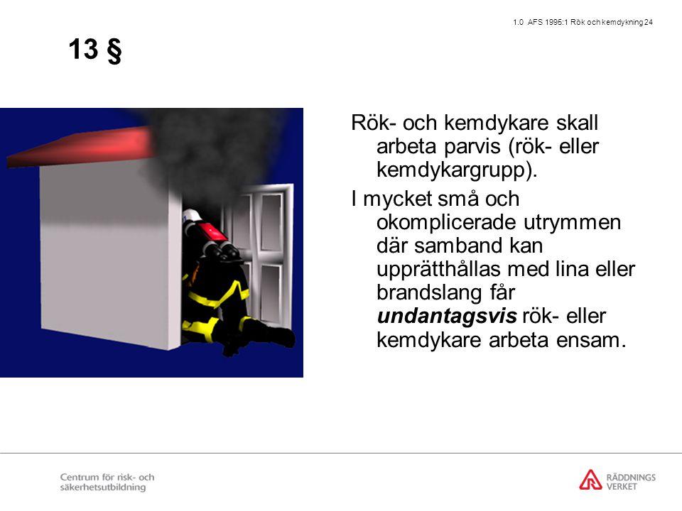 1.0 AFS 1995:1 Rök och kemdykning 24 13 § Rök- och kemdykare skall arbeta parvis (rök- eller kemdykargrupp). I mycket små och okomplicerade utrymmen d