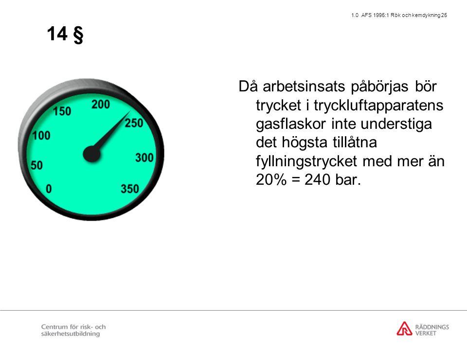 1.0 AFS 1995:1 Rök och kemdykning 25 14 § Då arbetsinsats påbörjas bör trycket i tryckluftapparatens gasflaskor inte understiga det högsta tillåtna fyllningstrycket med mer än 20% = 240 bar.