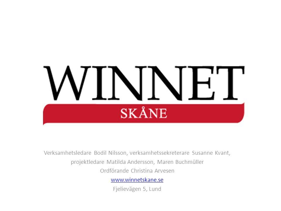 Verksamhetsledare Bodil Nilsson, verksamhetssekreterare Susanne Kvant, projektledare Matilda Andersson, Maren Buchmüller Ordförande Christina Arvesen