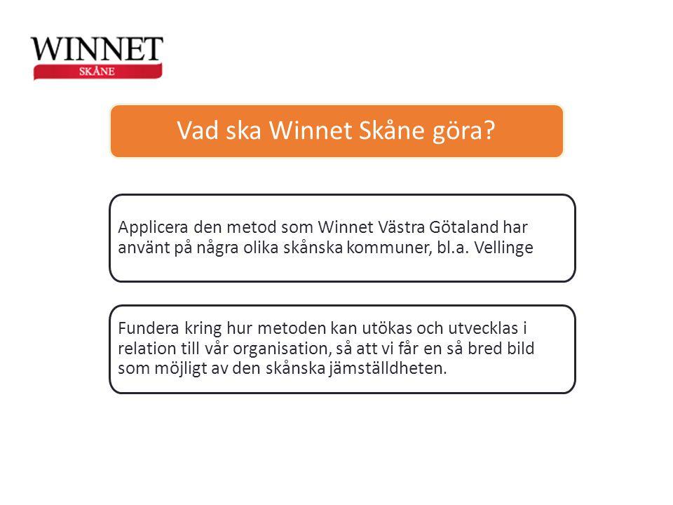 Vad ska Winnet Skåne göra? Applicera den metod som Winnet Västra Götaland har använt på några olika skånska kommuner, bl.a. Vellinge Fundera kring hur