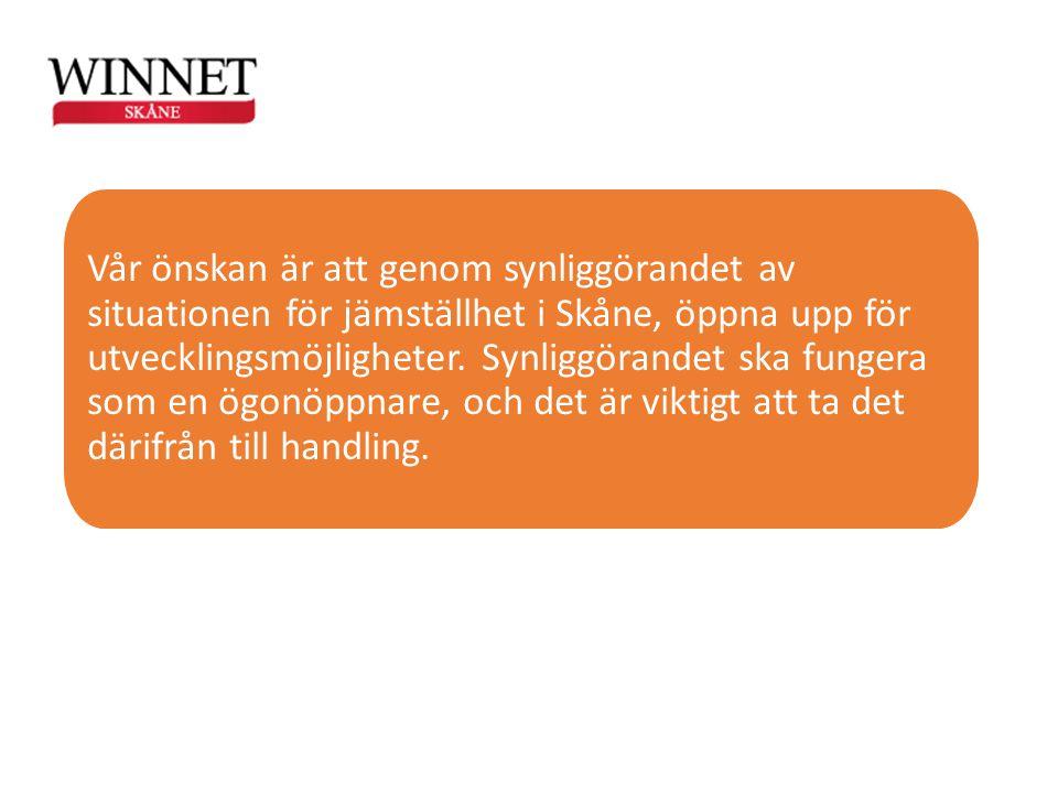 Vår önskan är att genom synliggörandet av situationen för jämställhet i Skåne, öppna upp för utvecklingsmöjligheter. Synliggörandet ska fungera som en