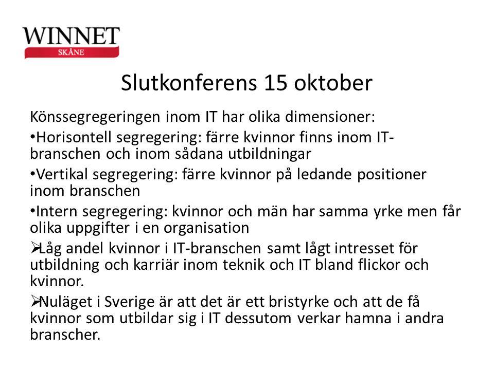 Slutkonferens 15 oktober Könssegregeringen inom IT har olika dimensioner: • Horisontell segregering: färre kvinnor finns inom IT- branschen och inom s