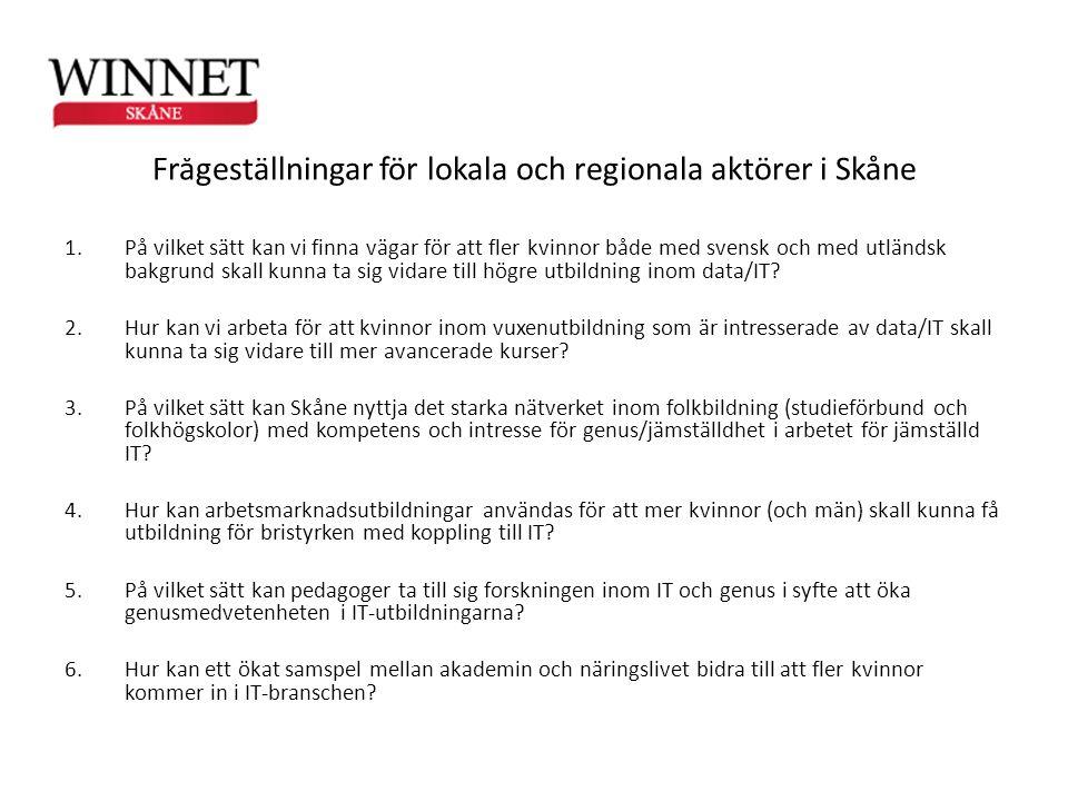 Frågeställningar för lokala och regionala aktörer i Skåne 1.På vilket sätt kan vi finna vägar för att fler kvinnor både med svensk och med utländsk ba