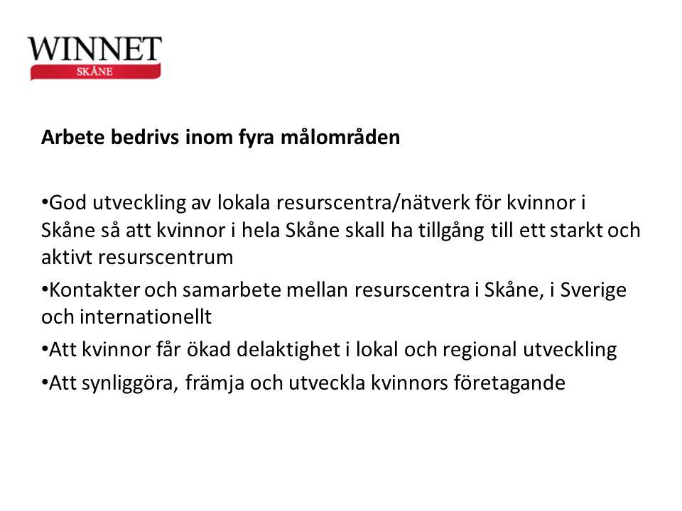 Arbete bedrivs inom fyra målområden • God utveckling av lokala resurscentra/nätverk för kvinnor i Skåne så att kvinnor i hela Skåne skall ha tillgång
