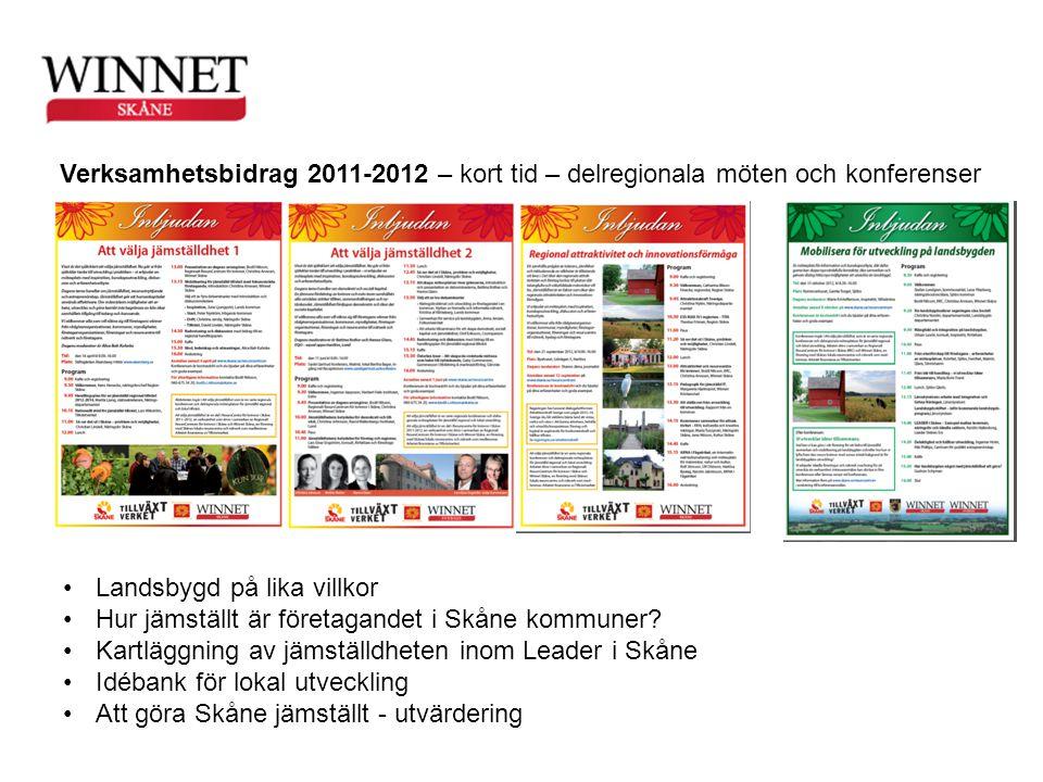Verksamhetsbidrag 2011-2012 – kort tid – delregionala möten och konferenser •Landsbygd på lika villkor •Hur jämställt är företagandet i Skåne kommuner