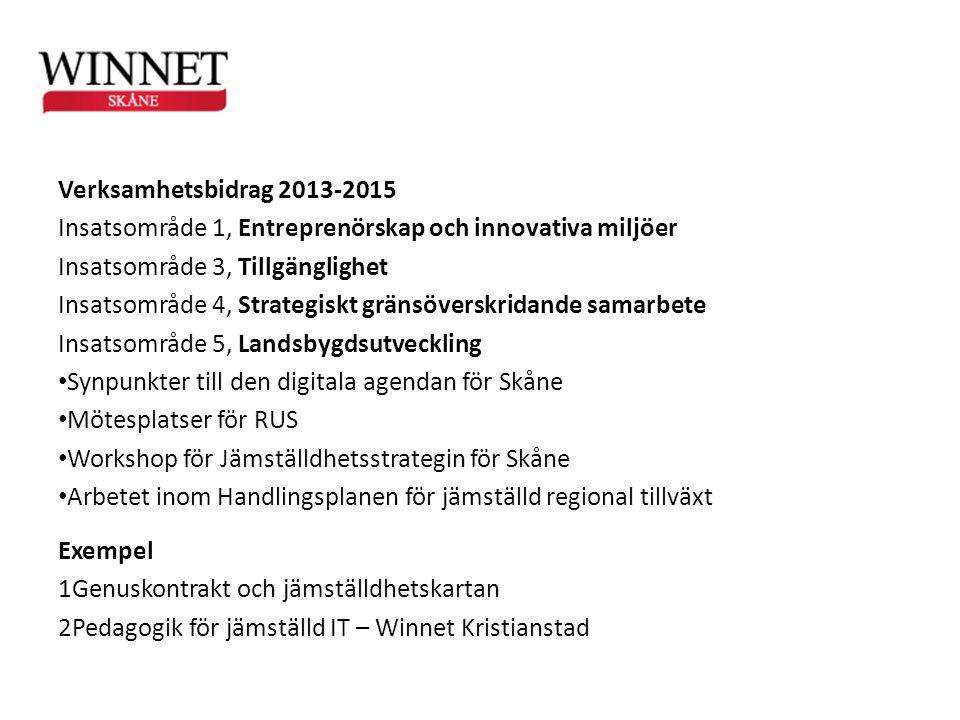 Verksamhetsbidrag 2013-2015 Insatsområde 1, Entreprenörskap och innovativa miljöer Insatsområde 3, Tillgänglighet Insatsområde 4, Strategiskt gränsöve