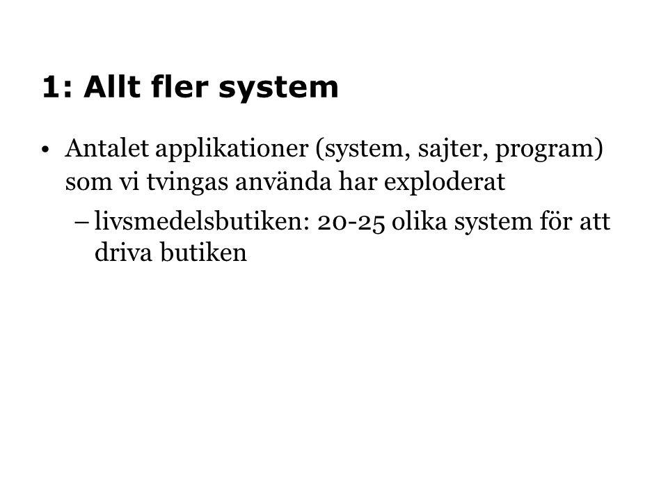1: Allt fler system •Antalet applikationer (system, sajter, program) som vi tvingas använda har exploderat –livsmedelsbutiken: 20-25 olika system för att driva butiken