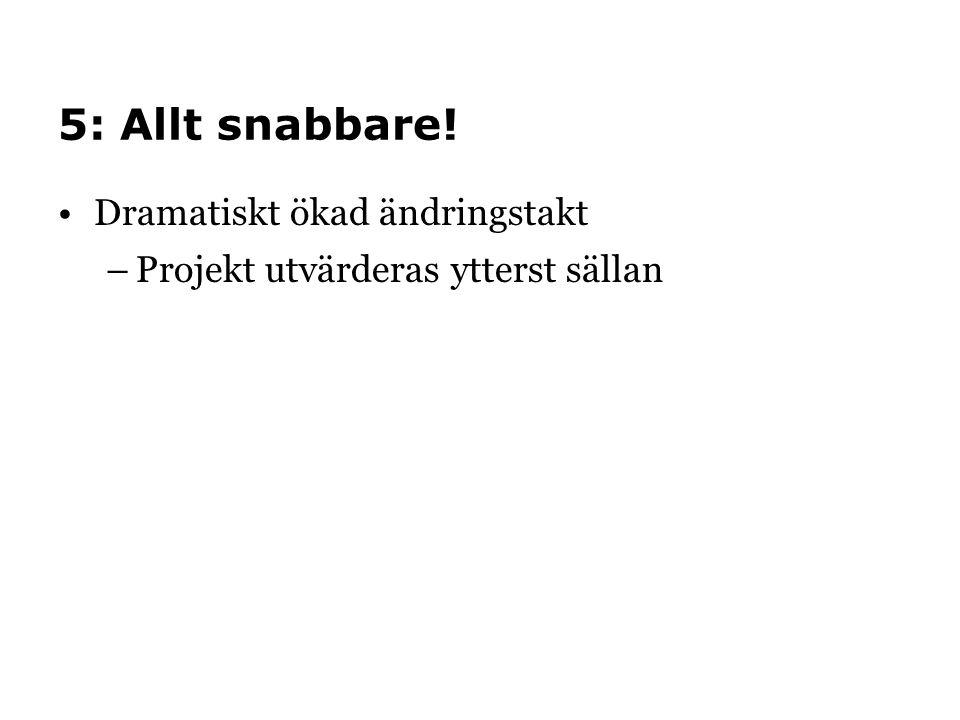 5: Allt snabbare! •Dramatiskt ökad ändringstakt –Projekt utvärderas ytterst sällan