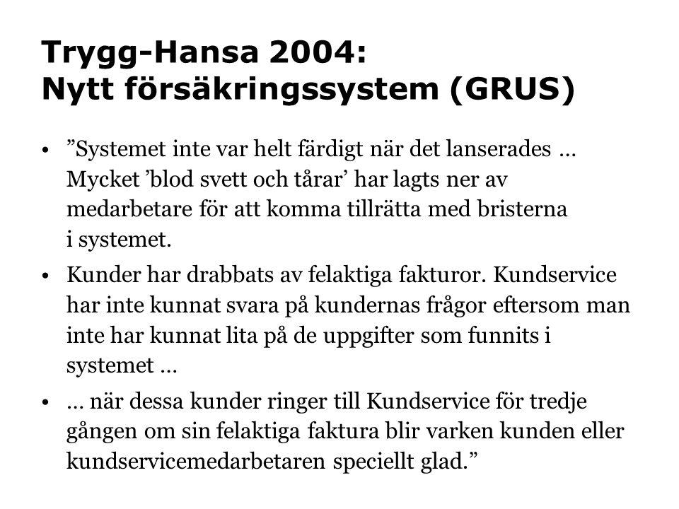 Trygg-Hansa 2004: Nytt försäkringssystem (GRUS) • Systemet inte var helt färdigt när det lanserades … Mycket 'blod svett och tårar' har lagts ner av medarbetare för att komma tillrätta med bristerna i systemet.