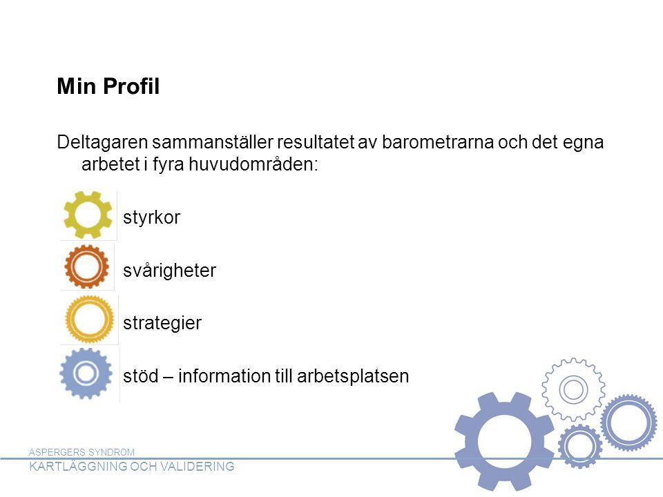 ASPERGERS SYNDROM KARTLÄGGNING OCH VALIDERING Min Profil Deltagaren sammanställer resultatet av barometrarna och det egna arbetet i fyra huvudområden: styrkor svårigheter strategier stöd – information till arbetsplatsen