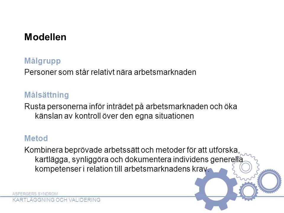 ASPERGERS SYNDROM KARTLÄGGNING OCH VALIDERING Modellen Målgrupp Personer som står relativt nära arbetsmarknaden Målsättning Rusta personerna inför inträdet på arbetsmarknaden och öka känslan av kontroll över den egna situationen Metod Kombinera beprövade arbetssätt och metoder för att utforska, kartlägga, synliggöra och dokumentera individens generella kompetenser i relation till arbetsmarknadens krav.