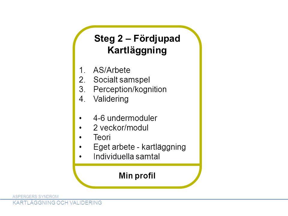 ASPERGERS SYNDROM KARTLÄGGNING OCH VALIDERING ASPERGERS SYNDROM KARTLÄGGNING OCH VALIDERING Steg 2 – Fördjupad Kartläggning 1.AS/Arbete 2.Socialt samspel 3.Perception/kognition 4.Validering •4-6 undermoduler •2 veckor/modul •Teori •Eget arbete - kartläggning •Individuella samtal Min profil
