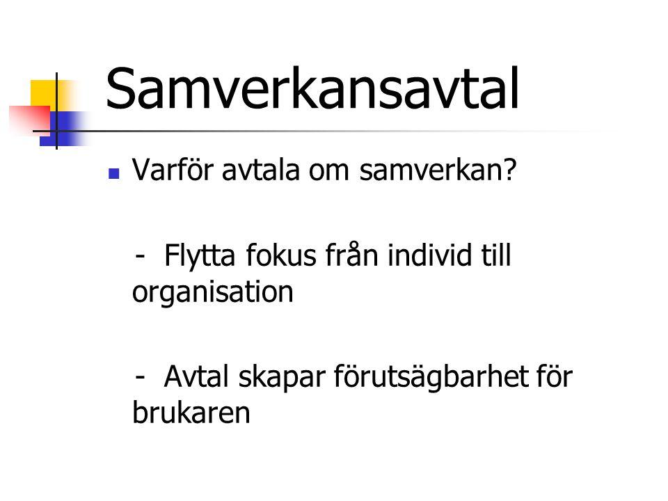 Samverkansavtal  Varför avtala om samverkan.