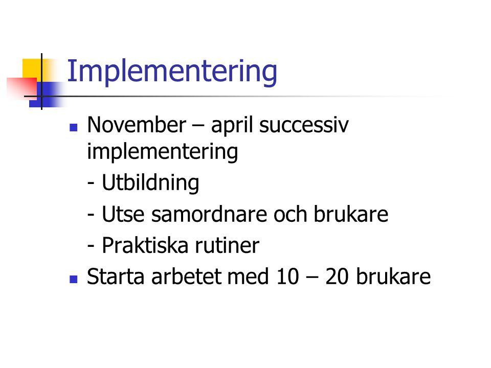 Implementering  November – april successiv implementering - Utbildning - Utse samordnare och brukare - Praktiska rutiner  Starta arbetet med 10 – 20