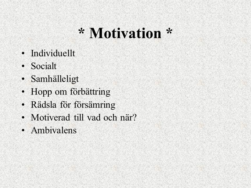* Motivation * •Individuellt •Socialt •Samhälleligt •Hopp om förbättring •Rädsla för försämring •Motiverad till vad och när.