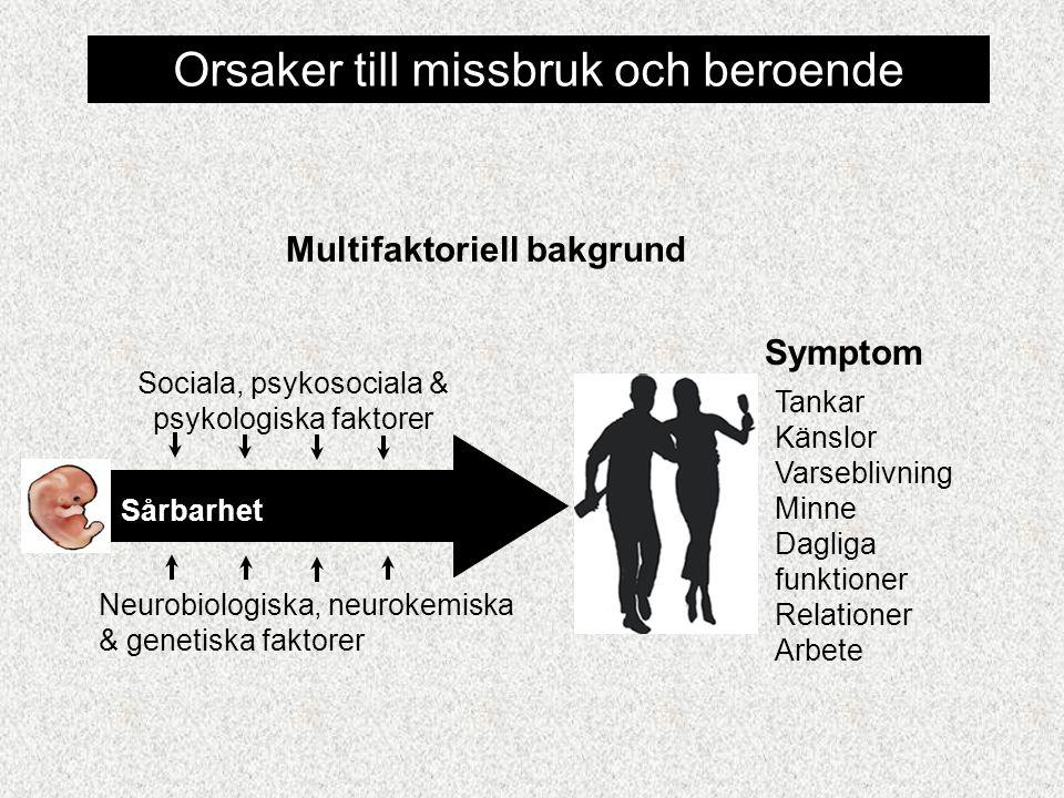 Multifaktoriell bakgrund Neurobiologiska, neurokemiska & genetiska faktorer Sociala, psykosociala & psykologiska faktorer Sårbarhet Symptom Tankar Känslor Varseblivning Minne Dagliga funktioner Relationer Arbete Orsaker till missbruk och beroende