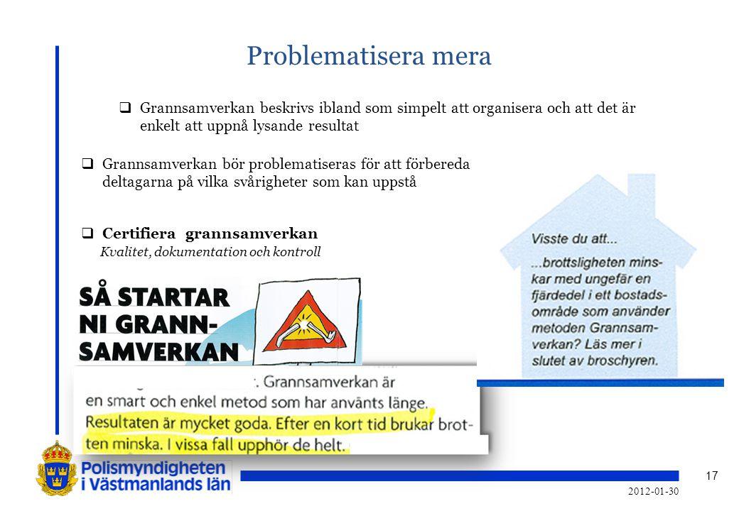 17 Problematisera mera  Grannsamverkan beskrivs ibland som simpelt att organisera och att det är enkelt att uppnå lysande resultat  Grannsamverkan b