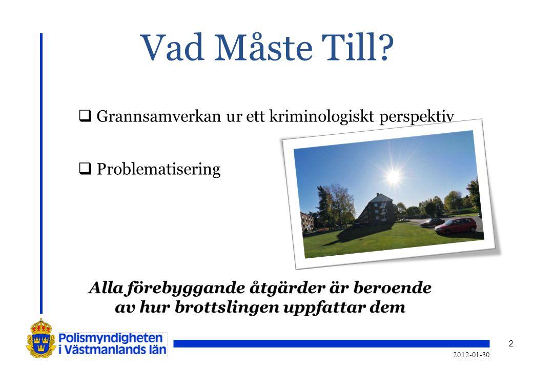 2 2012-01-30 Vad Måste Till?  Grannsamverkan ur ett kriminologiskt perspektiv  Problematisering