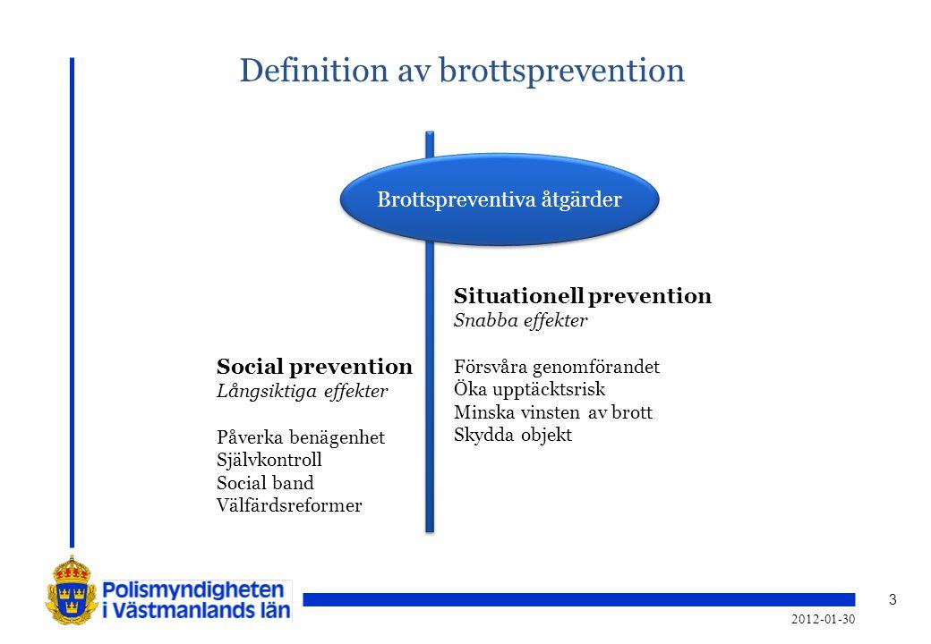 3 Brottspreventiva åtgärder Situationell prevention Snabba effekter Försvåra genomförandet Öka upptäcktsrisk Minska vinsten av brott Skydda objekt Soc