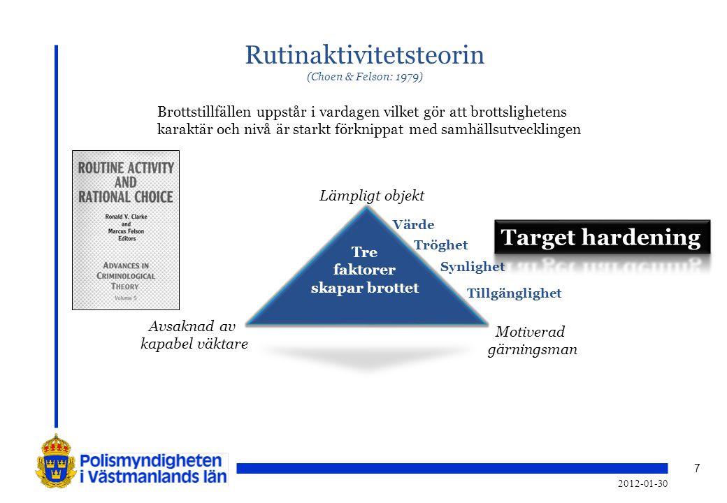 7 Rutinaktivitetsteorin (Choen & Felson: 1979) Tre faktorer skapar brottet Lämpligt objekt Motiverad gärningsman Avsaknad av kapabel väktare Brottstil