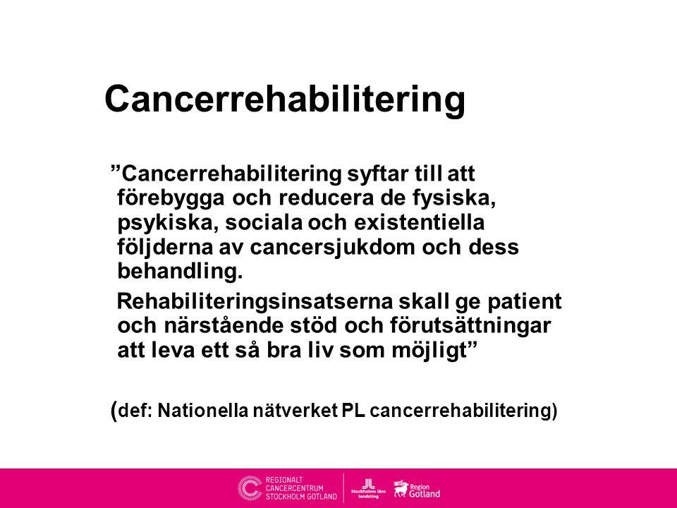 Cancerrehabilitering Cancerrehabilitering syftar till att förebygga och reducera de fysiska, psykiska, sociala och existentiella följderna av cancersjukdom och dess behandling.