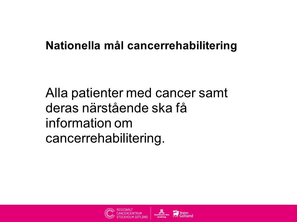 Nationella mål cancerrehabilitering Alla patienter med cancer samt deras närstående ska få information om cancerrehabilitering.