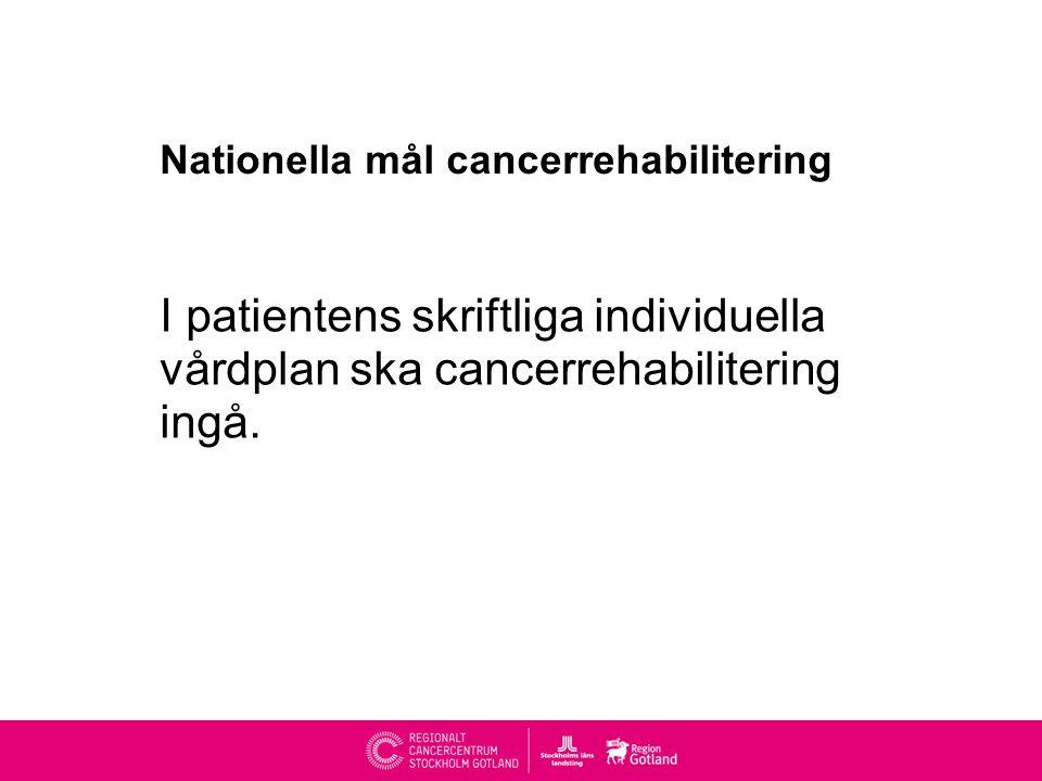 Nationella mål cancerrehabilitering I patientens skriftliga individuella vårdplan ska cancerrehabilitering ingå.