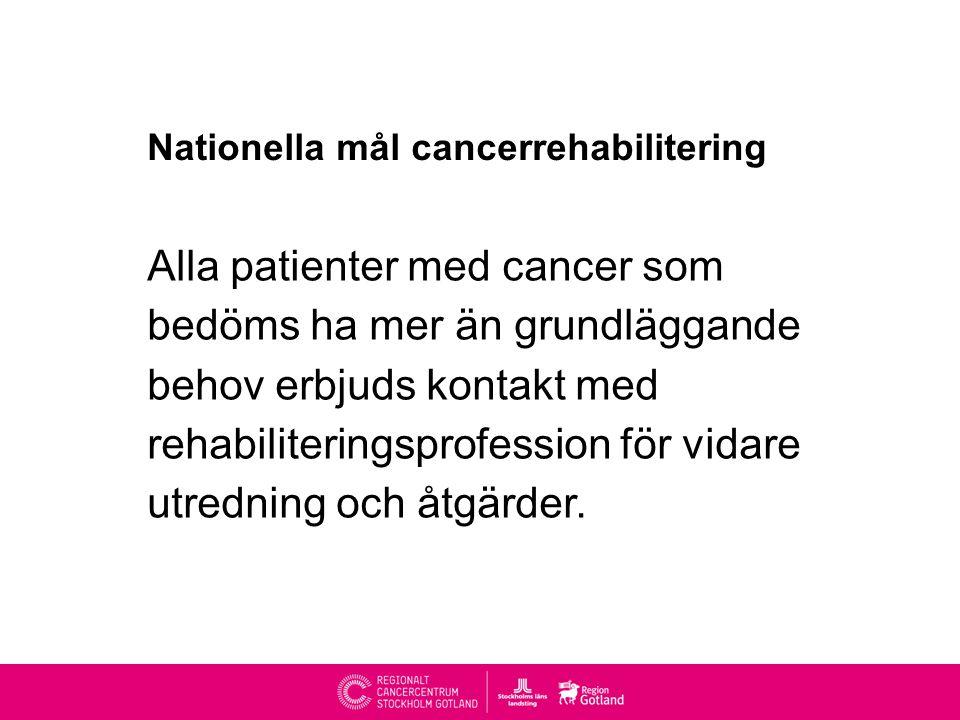 Nationella mål cancerrehabilitering Alla patienter med cancer som bedöms ha mer än grundläggande behov erbjuds kontakt med rehabiliteringsprofession för vidare utredning och åtgärder.