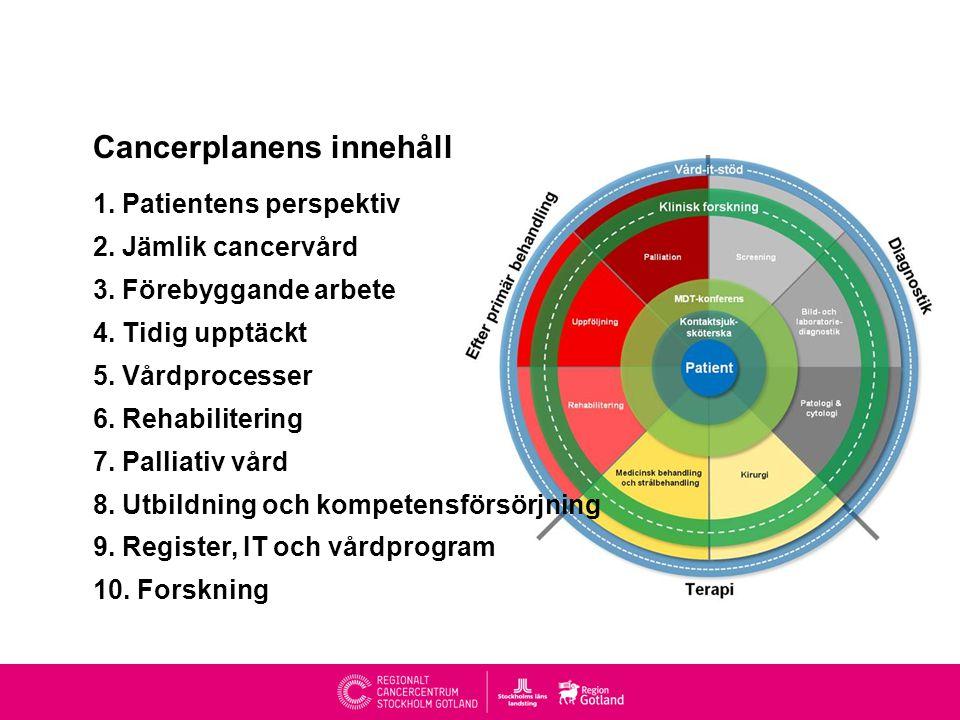 Cancerplanens innehåll 1.Patientens perspektiv 2.