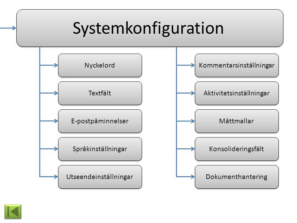Systemkonfiguration Nyckelord Måttmallar Textfält Dokumenthantering Konsolideringsfält Kommentarsinställningar Aktivitetsinställningar E-postpåminnels