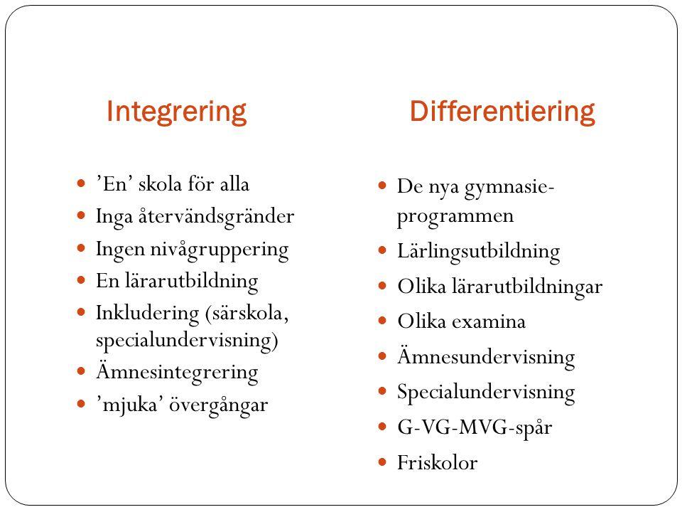 IntegreringDifferentiering  'En' skola för alla  Inga återvändsgränder  Ingen nivågruppering  En lärarutbildning  Inkludering (särskola, specialu