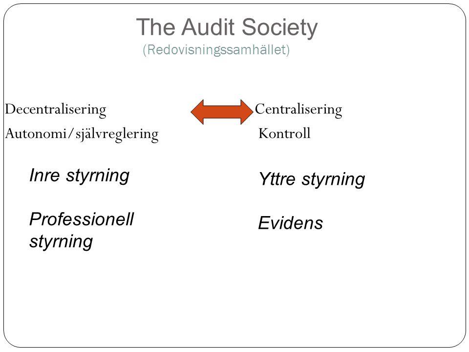 (Redovisningssamhället) Decentralisering Centralisering Autonomi/självreglering Kontroll The Audit Society Inre styrning Professionell styrning Yttre