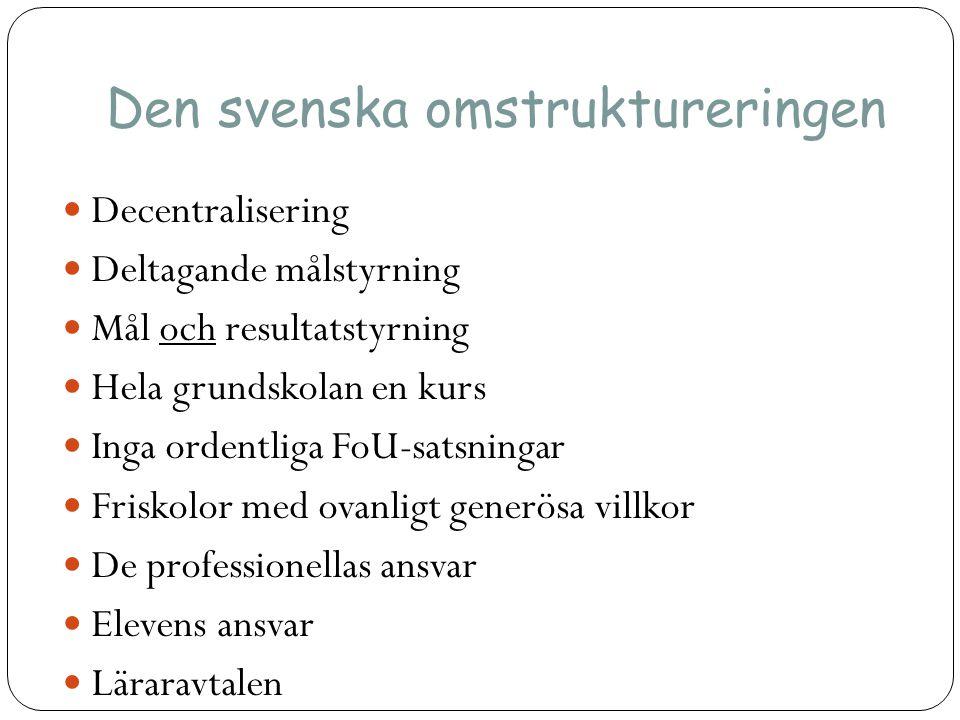 Den svenska omstruktureringen  Decentralisering  Deltagande målstyrning  Mål och resultatstyrning  Hela grundskolan en kurs  Inga ordentliga FoU-