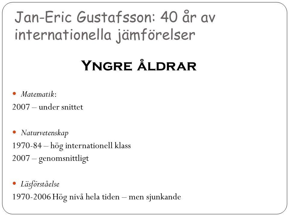 Jan-Eric Gustafsson: 40 år av internationella jämförelser Yngre åldrar  Matematik: 2007 – under snittet  Naturvetenskap 1970-84 – hög internationell