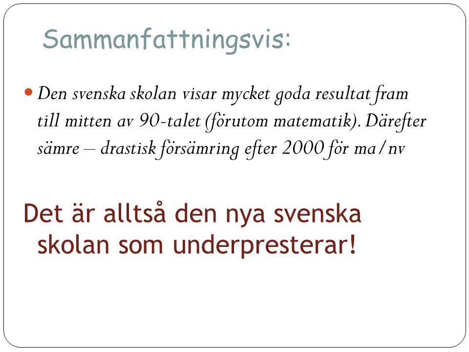 Sammanfattningsvis:  Den svenska skolan visar mycket goda resultat fram till mitten av 90-talet (förutom matematik). Därefter sämre – drastisk försäm