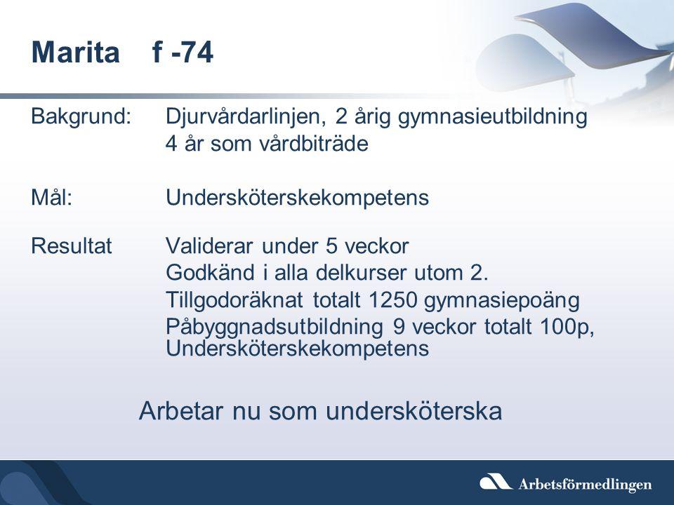 Marita f -74 Bakgrund:Djurvårdarlinjen, 2 årig gymnasieutbildning 4 år som vårdbiträde Mål:Undersköterskekompetens ResultatValiderar under 5 veckor Go