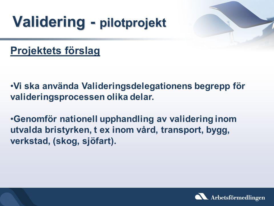 Validering - pilotprojekt Projektets förslag •Vi ska använda Valideringsdelegationens begrepp för valideringsprocessen olika delar. •Genomför nationel