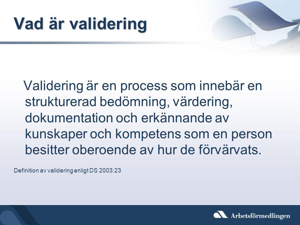 Vad är validering Validering är en process som innebär en strukturerad bedömning, värdering, dokumentation och erkännande av kunskaper och kompetens s