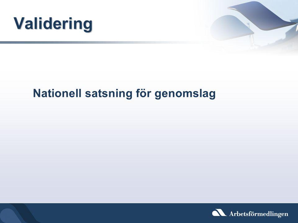Validering Nationell satsning för genomslag
