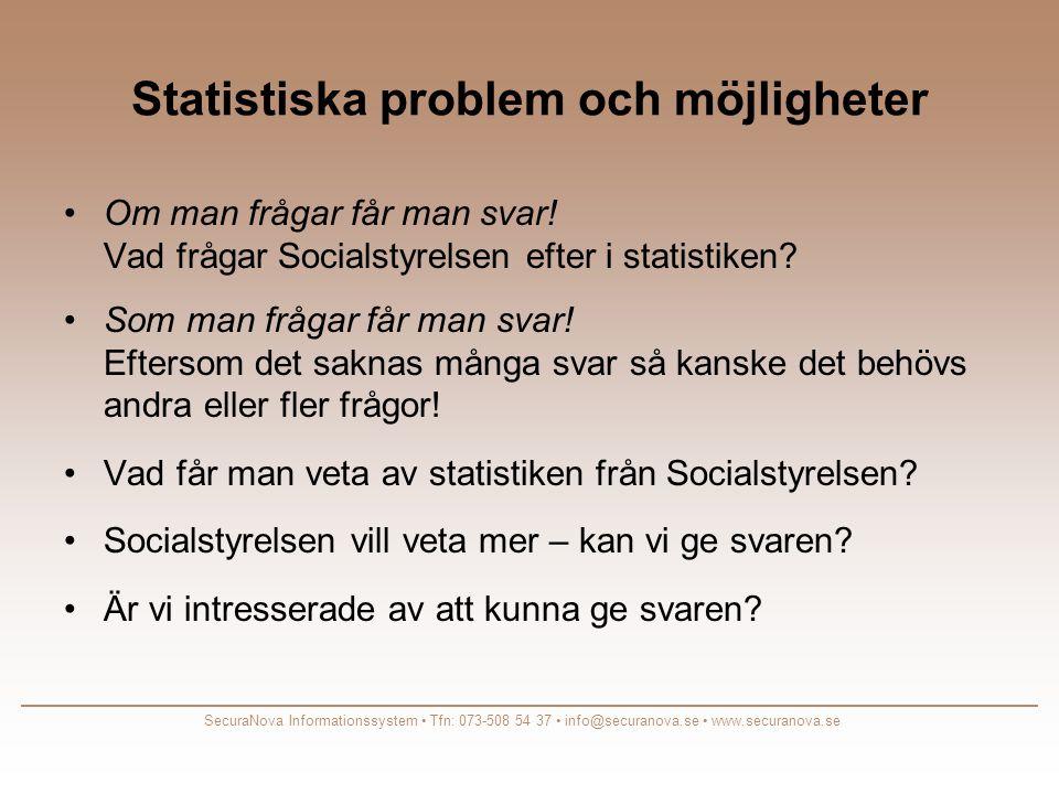 Statistiska problem och möjligheter •Om man frågar får man svar.