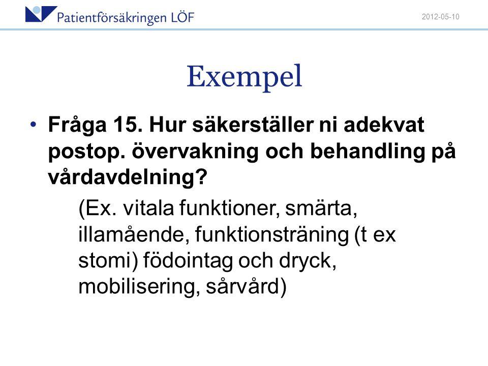 Exempel •Fråga 15. Hur säkerställer ni adekvat postop. övervakning och behandling på vårdavdelning? (Ex. vitala funktioner, smärta, illamående, funkti