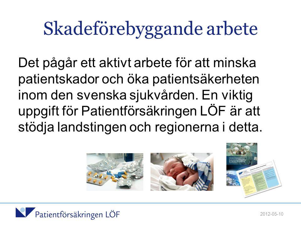 Skadeförebyggande arbete Det pågår ett aktivt arbete för att minska patientskador och öka patientsäkerheten inom den svenska sjukvården. En viktig upp
