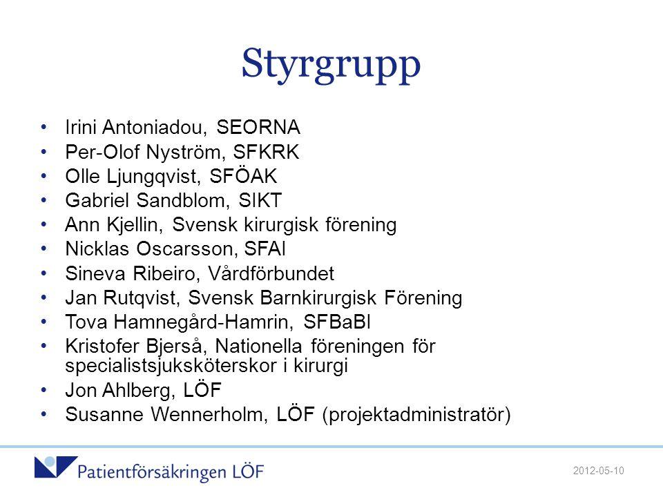 Styrgrupp •Irini Antoniadou, SEORNA •Per-Olof Nyström, SFKRK •Olle Ljungqvist, SFÖAK •Gabriel Sandblom, SIKT •Ann Kjellin, Svensk kirurgisk förening •