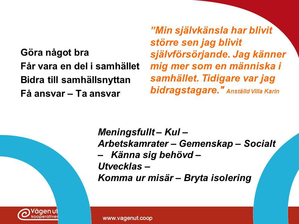 """www.vagenut.coop Göra något bra Får vara en del i samhället Bidra till samhällsnyttan Få ansvar – Ta ansvar """" Min självkänsla har blivit större sen ja"""