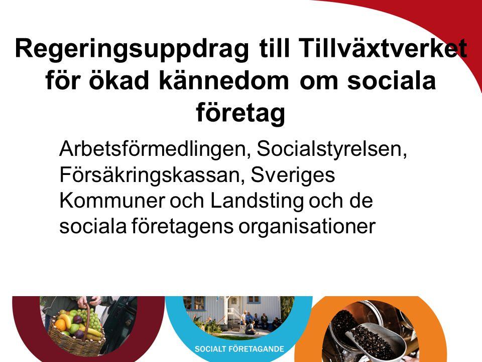 www.vagenut.coop Regeringsuppdrag till Tillväxtverket för ökad kännedom om sociala företag Arbetsförmedlingen, Socialstyrelsen, Försäkringskassan, Sve
